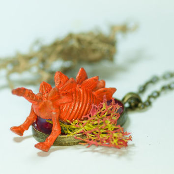"Orange Stegosaurus Handemade Pendant Necklace | ""Stella the Stegosaurus"" 