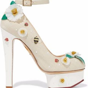Embellished canvas platform pumps | CHARLOTTE OLYMPIA | Sale up to 70% off | THE OUTNET