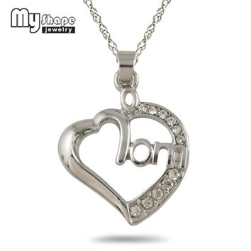 New stylish Silver Plated Mom Heart Crystal Pendant Necklace