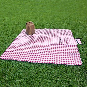 "Extra Large Picnic & Outdoor Blanket with Waterproof Backing 90"" x 80"" (White&Red)"
