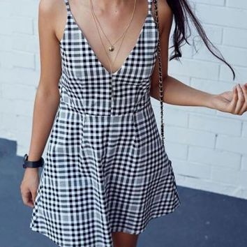 White-Black Plaid Draped A-line Spaghetti Strap High Waisted Gingham Mini Dress