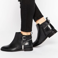 ASOS ALARM Wide Fit Leather Ankle Boots