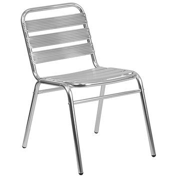 Aluminum Commercial Indoor-Outdoor Armless Stack Chair Triple Slat Back