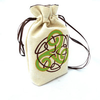 Triskele Celtic Bag -Dice Bag, Tarot Bag, Accessory Bag, Gaming Bag, Celtic, Triple Spiral, Goddess, Pagan