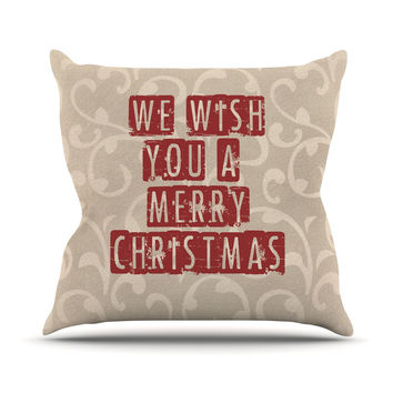 "Sylvia Cook ""We Wish You A Merry Christmas"" Holiday Throw Pillow"