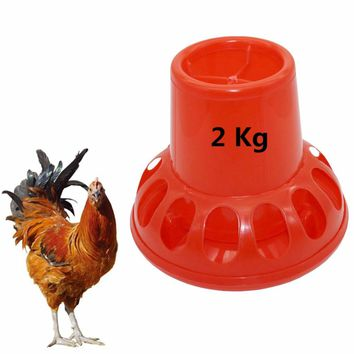 2Kg Poultry Feeding Tools Red Plastic Chicken Feeders Quail Feed Bucket Poultry Farming Tools