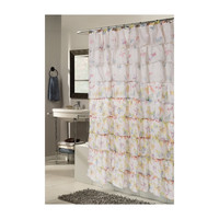 Ruffled Tier Butterfly Print Polyester Shower Curtain
