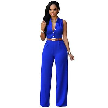 Jumpsuit Long Pants Women Rompers Sleeveless XXL V-neck Belt Solid Sexy Night Club Elegant Slim Jumpsuits Overalls