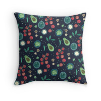 'Italian Food Illustration in Gouache' Throw Pillow by yaansoon