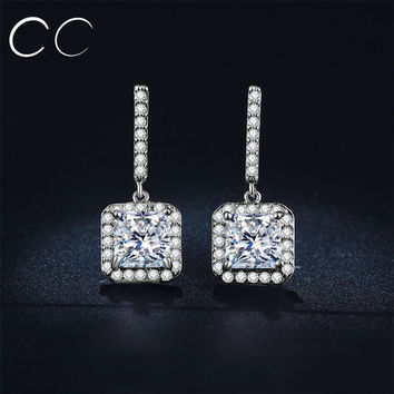 Cc&byx Classic Platinum Plated Cubic Zirconia Stud Earrings For Women Mse033