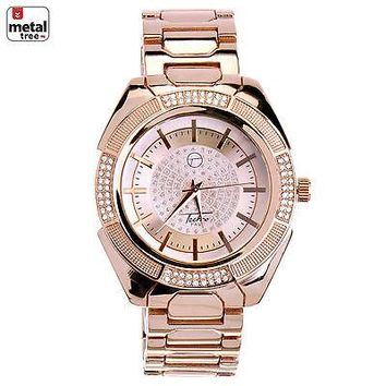 Jewelry Kay style Men's Bling 14K Rose Gold Plated Stainless Steel Metal Band Watches WM 8362 RG