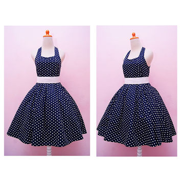 Vintage Navy Blue Polka dot Halter Swing Rockabilly Dress, Plus Size Pin Up 50s Girl Party Dress