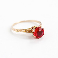 Antique 10k Yellow Gold Art Deco Filigree Simulated Ruby Ring- Size 7.5 Vintage 1920s 1930s Garnet Glass Doublet Fine Jewelry