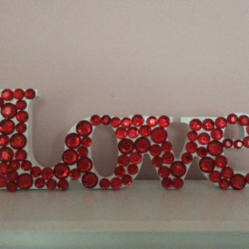 Love Sign with Red Rhinestones
