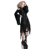 M025 Punk Rave Visual Gothic Decadent Worsted Hooded Jacket with Hole Knitted