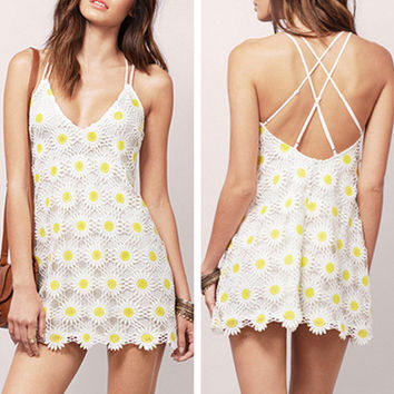 Fashion Flower Print Backless Sleeveless Strap Vest Chiffon Mini Dress