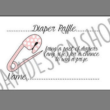 Printable diaper raffle tickets - baby shower - INSTANT DOWNLOAD - baby girl - pink diaper pin - polka dots diaper pin - digital file