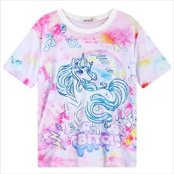 2016 kawaii style tie dye t shirt My Little Pony Unicorn rainbow dash Print t-shirt short sleeve cartoon tees moletom women tops