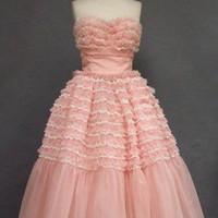 Ruffled Pink & White Chiffon & Lace Strapless Prom Dress VINTAGEOUS VINTAGE CLOTHING
