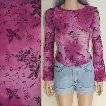 90s sheer mesh floral crop top bell sleeve shirt blouse soft grunge boho festival hippie mod hipster cyber goth s m tie dye purple pink rave