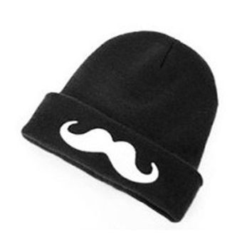 New Fashion Unisex Warm Mustache Knit Cuff Beanie Skull Hat Cap (Color: Black) = 1958403588