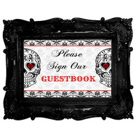 Sugar Skull Guestbook sign - sugar skull wedding - day of the dead wedding - guest book sign- red black damask guest book guestbook 8x10