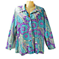 Psychedelic Blouse LS Purple Blue Aqua Floral 1970's Fashion Made USA Large