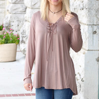 Long Sleeve Soft Lace Up Blouse {Mocha}