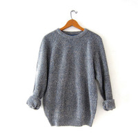 Vintage loose knit sweater. Speckled blue & gray sweater. Minimalist sweater.