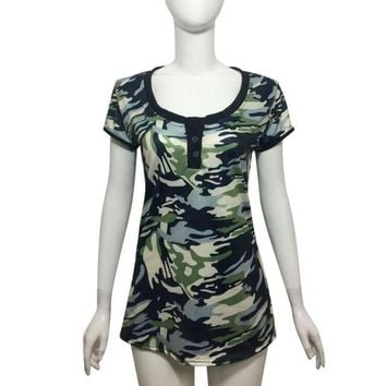 mokingtop Camouflage Tshirt Bodycon Short Sleeve Women Shirt Sexy 2017Summer Casual Tops Macaquinho Feminino#0521