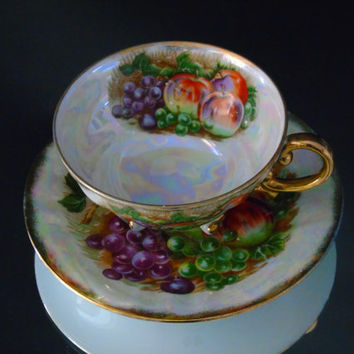 Japan Lusterware Footed Cup & Saucer Vintage Fruit Pattern Iridescent China Teacup