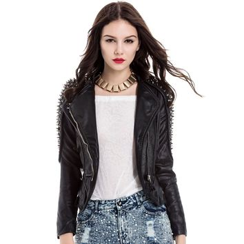Stylish Turn-Down Collar Studded Long Sleeve PU Leather Jacket For Women