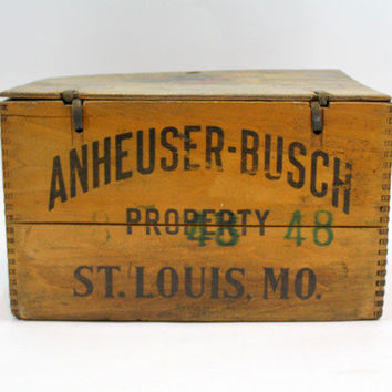 Vintage Wooden Anheuser-Busch Co. / Antique Beer Crate / Industrial