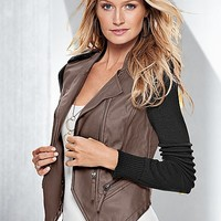 %PC% Faux leather sweater jacket, cami from VENUS