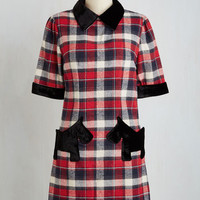60s Mid-length Short Sleeves Shift Great Scottie! Dress