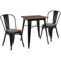 "23.5"" Square Metal Table Set with Wood Top and 2 Stack Chairs"