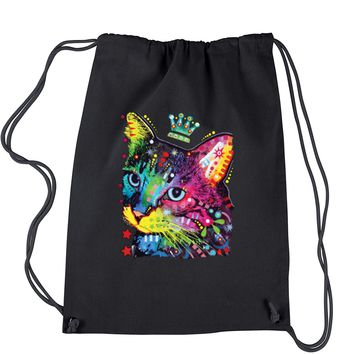 Neon Cat With Crown Drawstring Backpack