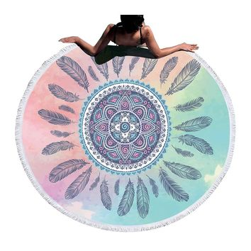 Tassel Mandala Tapestry Boho Round Beach Towel Pink and Blue