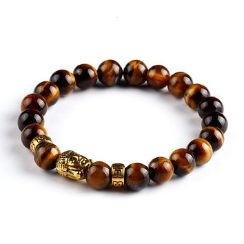 ON SALE - Buddha Bead Genuine Agate Gemstone Bracelet
