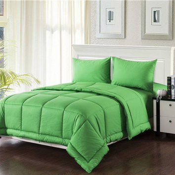 Tache 3-4 Piece Solid Spring Green Box Stitched Comforter Set