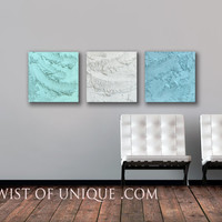Large concrete wall art / ORIGINAL 3 panel (15-Inch x 15-inch)/ Modern Abstract mineral art / White, Sky-blue, Sea-foam