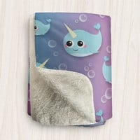 Cute Narwhal Sherpa Fleece Blanket - Happy Narwhal and Bubbles Pattern With Blue Pink Purple Background - 2 sizes available - Made to Order