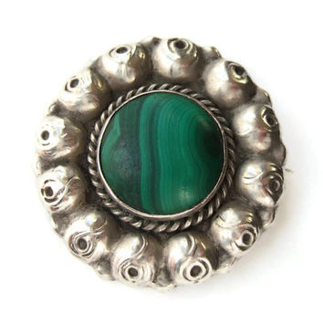 Antique Grann & Laglye malachite and silver brooch, Skonvirke roses design, 830 silver, Danish Arts and Crafts, Art Nouveau. #222.
