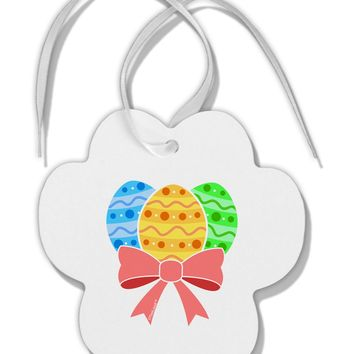 Easter Eggs With Bow Paw Print Shaped Ornament by TooLoud