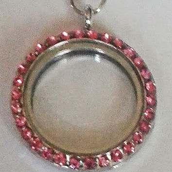 30 mm Round Silver with Pink Rhinestones Floating Locket with silver chain.