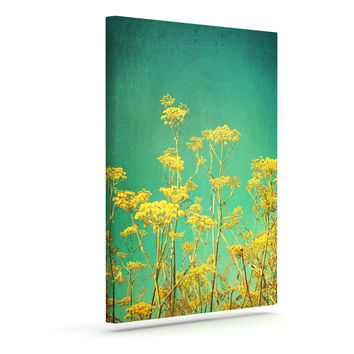 """Sylvia Cook """"Yellow Flowers"""" Teal Sky Outdoor Canvas Wall Art"""