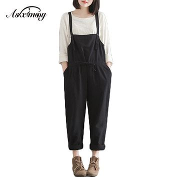 New Fashion 2017 Plus Size Casual Black Cotton Linen Overalls Pants Women Students Slim Wide Leg Harem Rompers Pants Pantalones