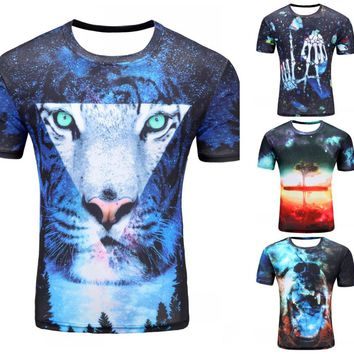 2017 Newest galaxy space printed creative cat 3d t shirt men's thinkers/novelty/pizza cat/tree 3D tee tops clothes dropshipping