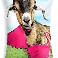 """Goat Art - Oh You're Home Throw Pillow 20"""" x 14"""""""