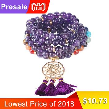CSJA Fashion Gold-color Dream Catcher Bracelet Natural Stone 108 Mala Beads Tassel Bracelets for Women Chakra Charms Bangle F484